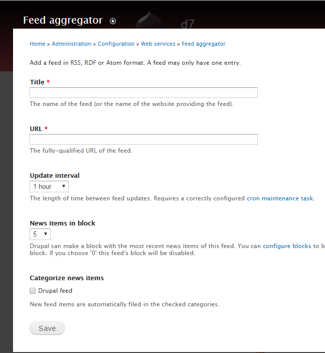 Aggregator configuration page with no data.