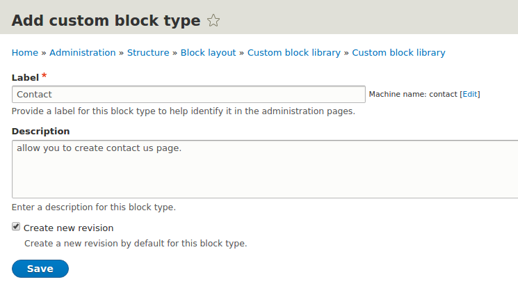 add curom block type
