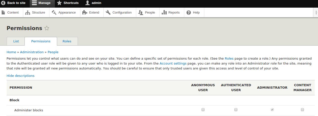 permission page