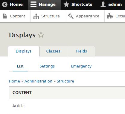 Displays list