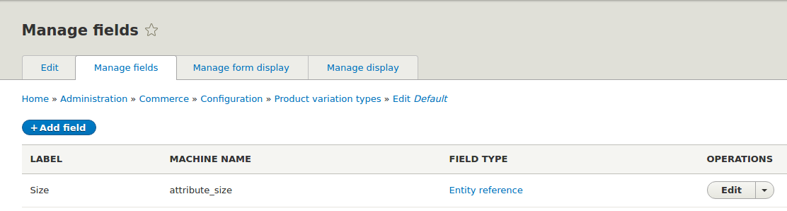 Manage Fields in product variation