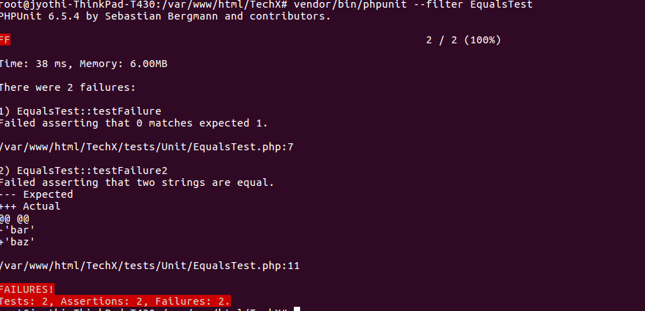 PHPUnit Assertion 2