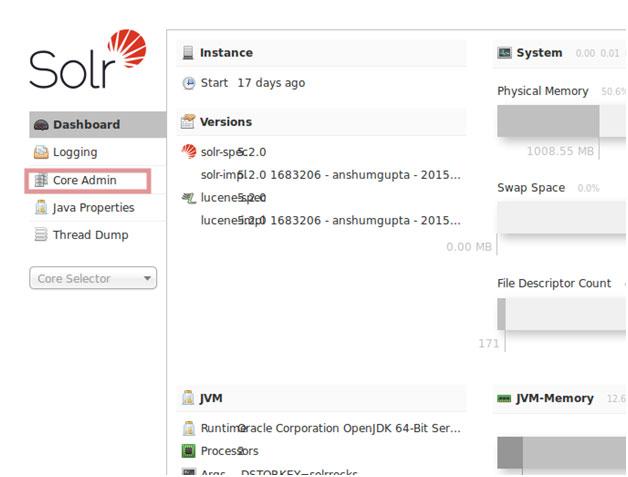 Solr 5.2 admin configuration page
