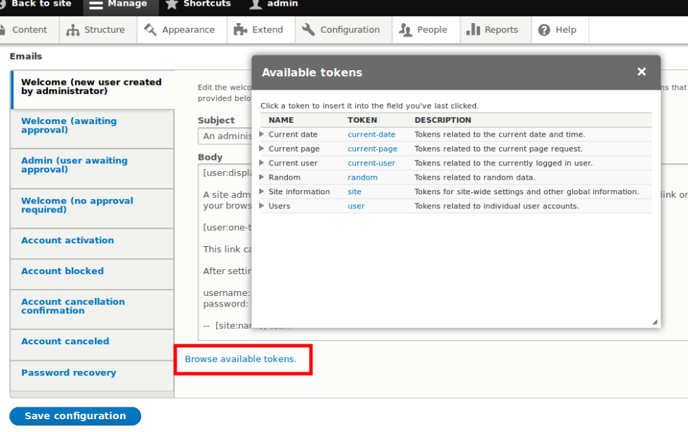 How to create custom token to be used in default mail for Drupal custom view template