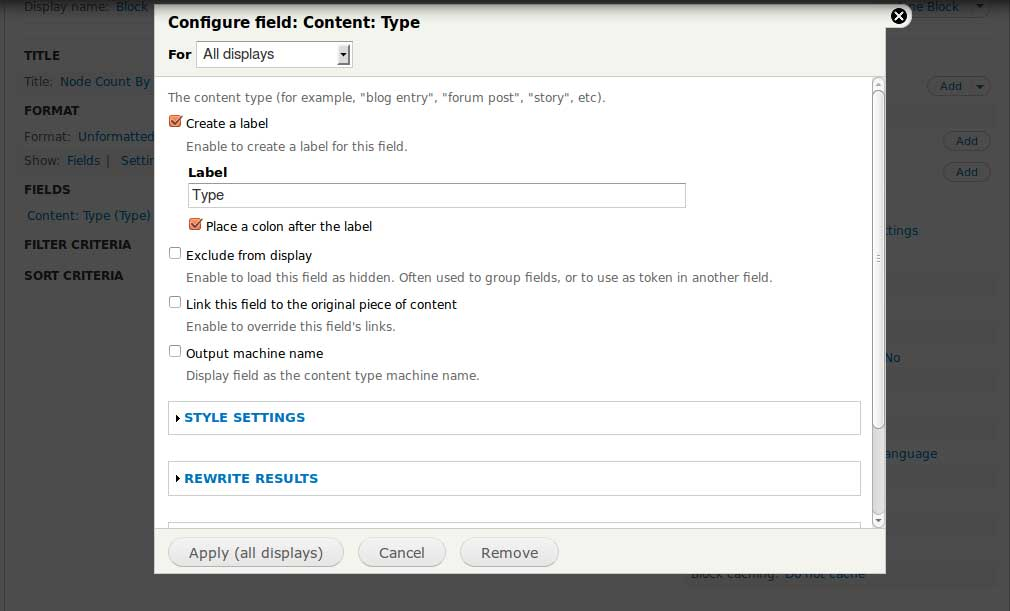 Display node count by content type using Drupal views in 5