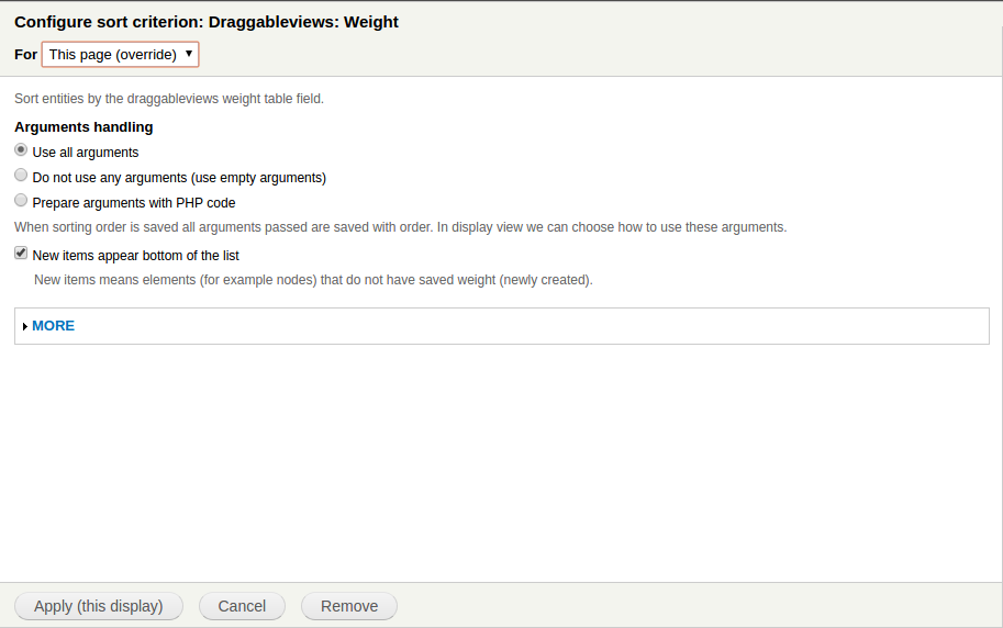 Sorting draggableviews