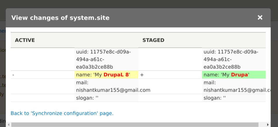active changes in Drupal Configuration