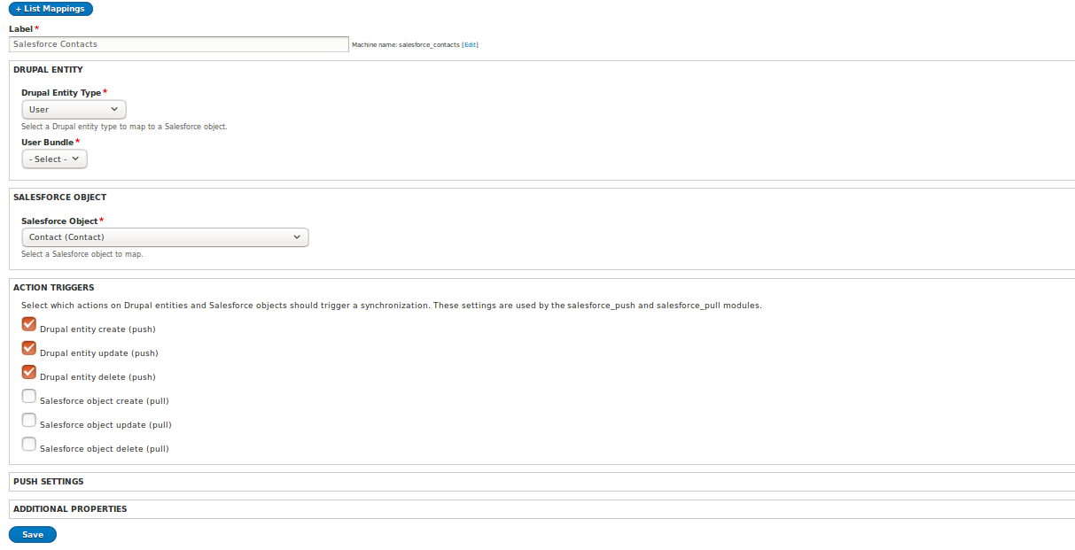 First step of Salesforce Mapping form