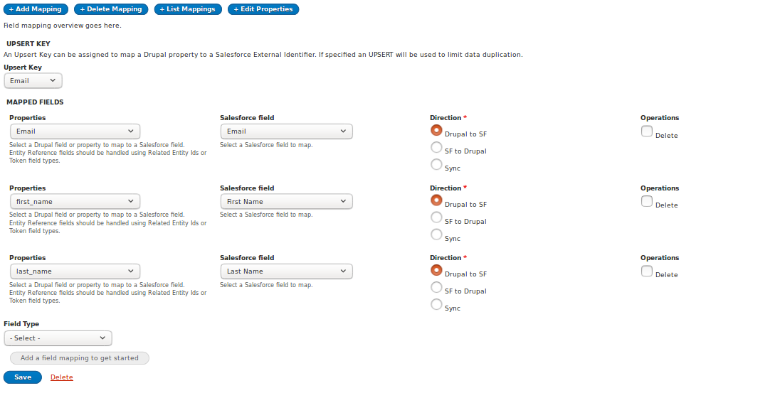 Second step of Salesforce Mapping form