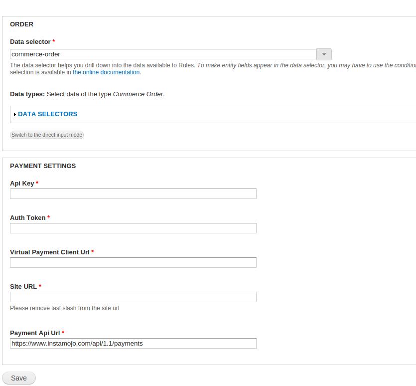 instamojo configuration page