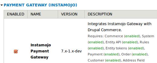 Enable instamojo module