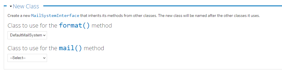 New class configuration