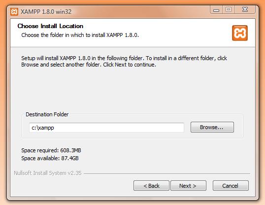 XAMPP - choose install location