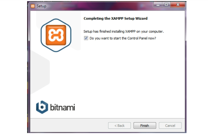 Completing XAMPP setup wizard
