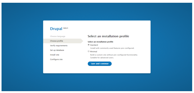 Drupal installation - select installation profile