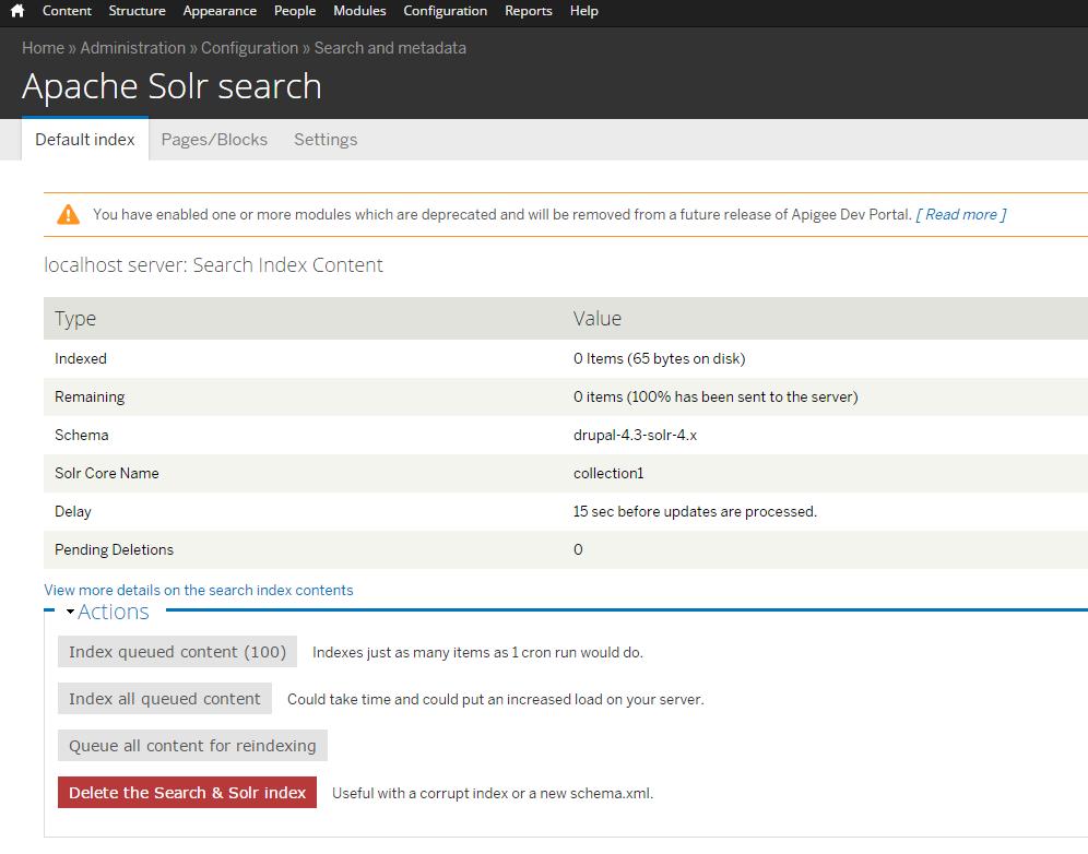 Solr default index page